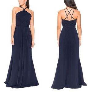 Brideside Navy Danai Bridesmaid Dress Midnight